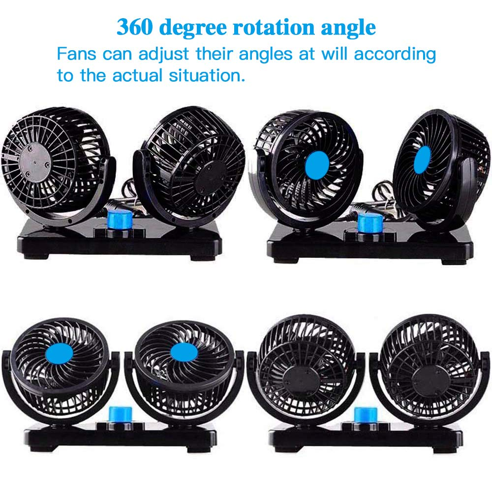 imoocare Car Fan 12V Electric Cooling Fan 2 Speed Adjustable Auto Cooling Air Fan 360 Degree Rotatable Double Head for SUV//RV Vehicles
