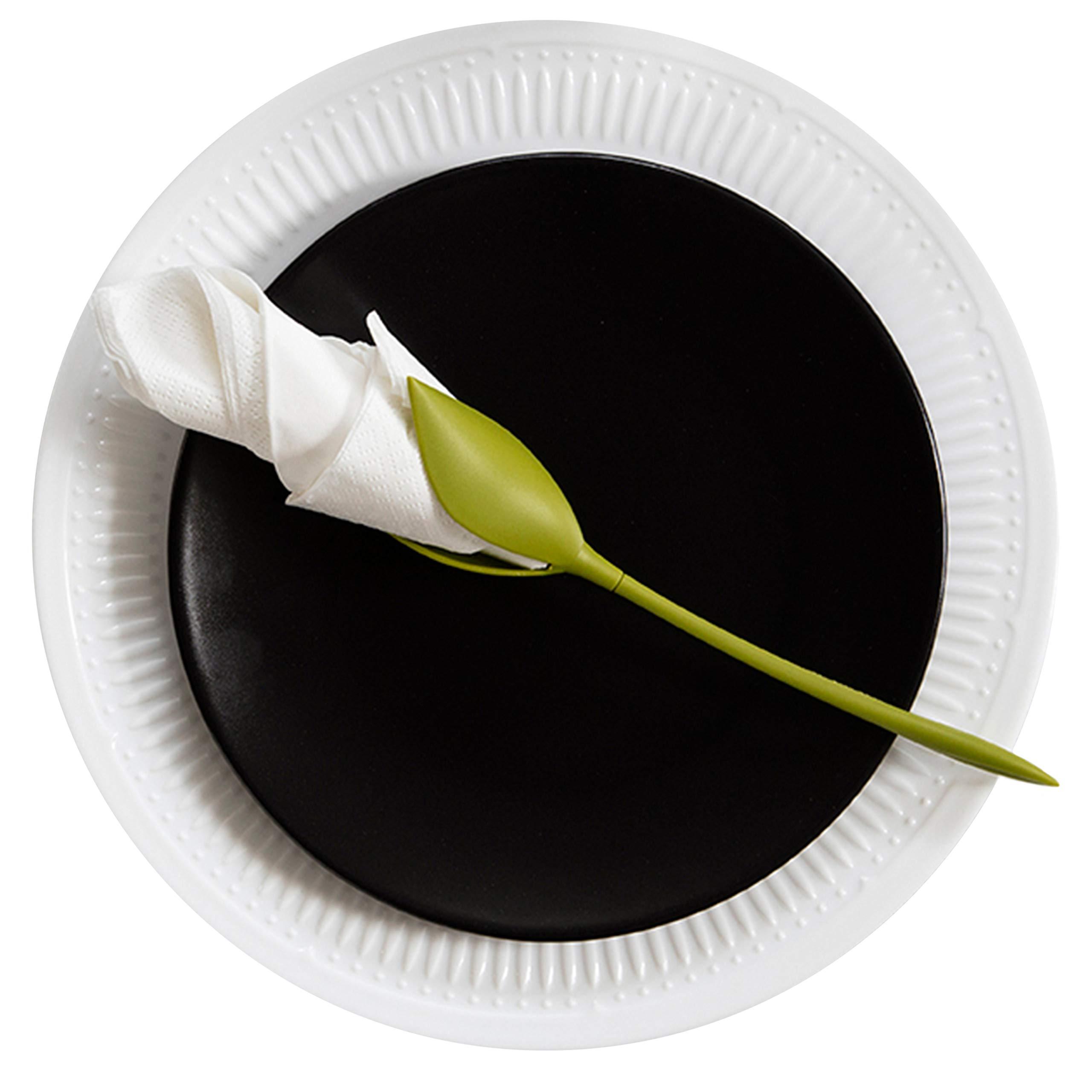Peleg Design Bloom Napkin Holders for Tables, Set of 8 Green Stemmed Plastic Twist Flower Buds Serviette Holders Plus White Napkins for Making Original Table Arrangements by PELEG DESIGN
