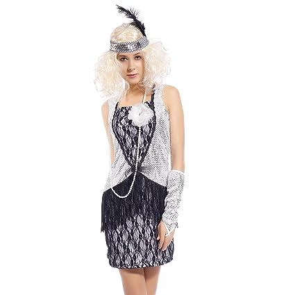 Maboobie - Disfraz de joven moda de los años 20 plateado para Fiestas Temáticas Carnavales Halloween