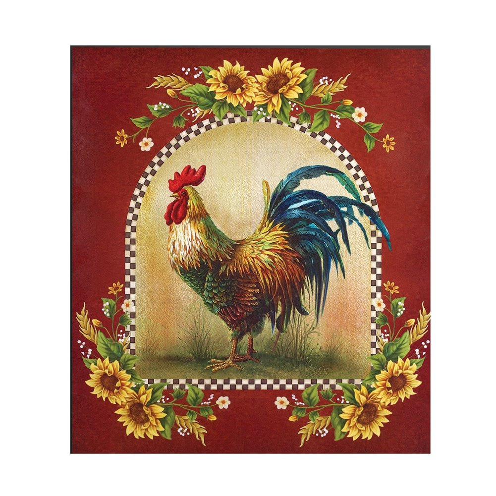 Collections Etc Sunflower And Rooster Country Dishwasher Magnet, Red by Collections Etc
