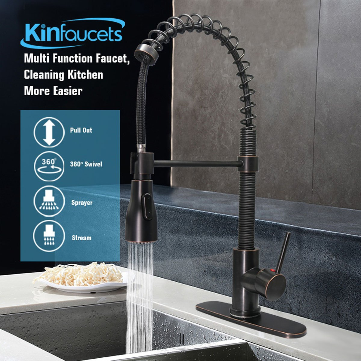 KINFAUCETS Kitchen sink faucet, Single Handle, One Hole, High-Arch ...