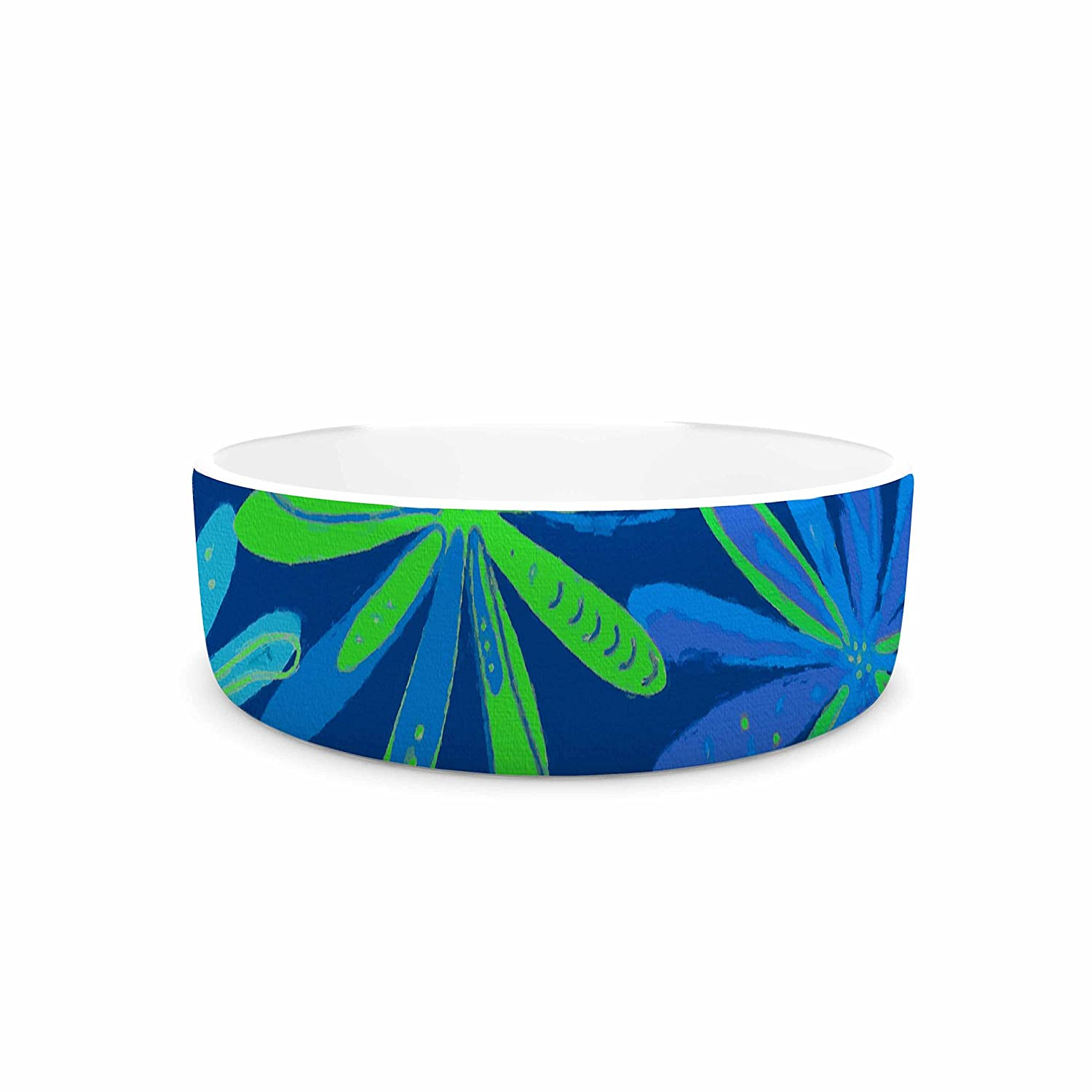 KESS InHouse Cristina Bianco Design Floral Pattern-bluee & Green bluee Green Illustration Pet Bowl, 7