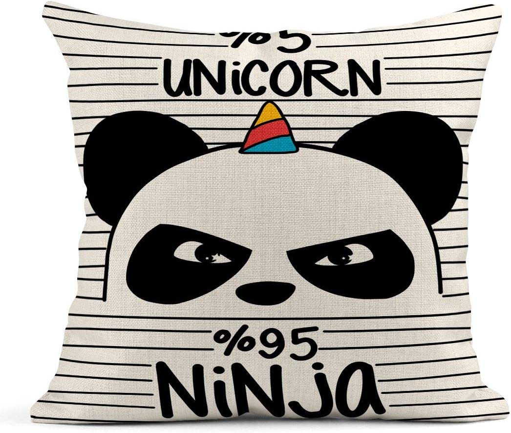 Tarolo Throw Pillow Covers Pink Animal Cute Panda Ninja and Unicorn Blue Girl Doodle Cat Love Linen Cushion Cases Home Decorative Pillowcases 18 x 18 inches