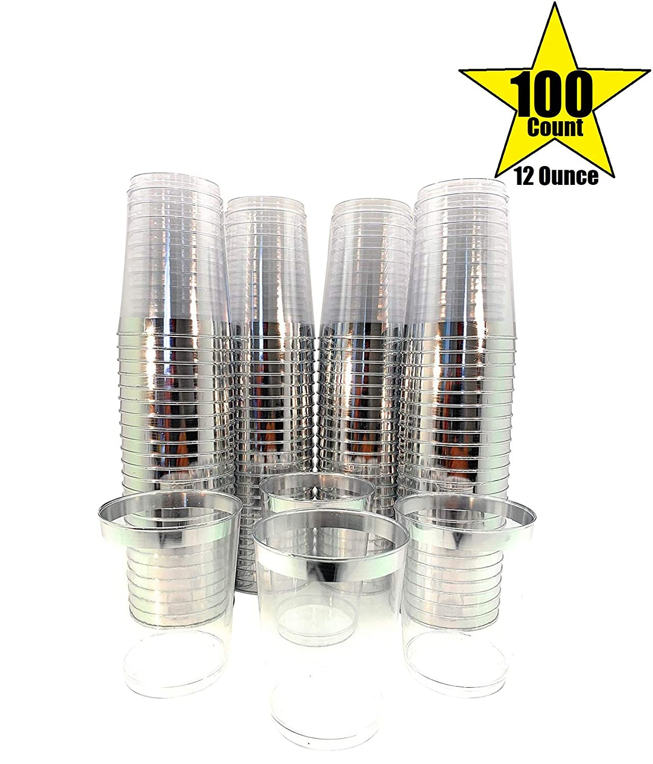 Amazon.com: 100 Count Hard Plastic 12 Ounce Party Clear Cups ...