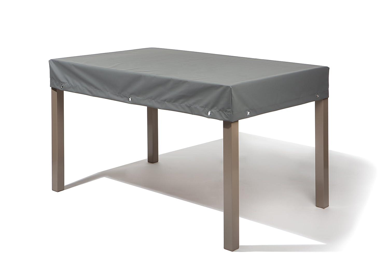 Atmungsaktive Tischplattenhaube Teak Safe Grau eckig 160x90cm mit 15cm Abhang und /Ösen im Saum vollfl/ächig atmungsaktiv