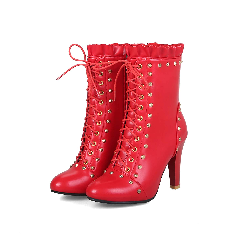 Best 4U Frauen Martin Stiefel Stiefel Martin Herbst Winter Vintage Style 9.5CM Heels PU-Leder-Echtes Leder-Schuhe Mit Schnürsenkel, Solid Farbe A 2bb73d
