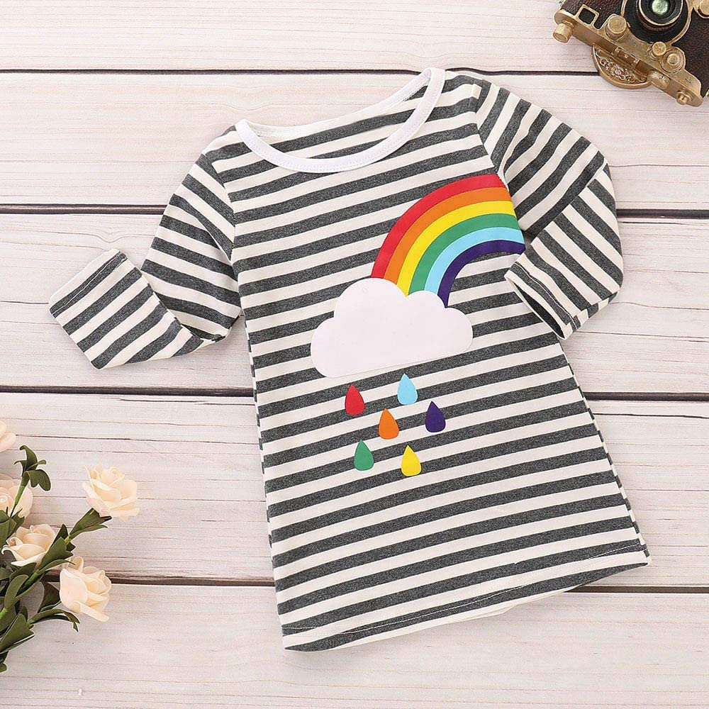 TOPUNDER Striped Rainbow Print Party Dress Clothes Dresses Infant Toddler Baby Girls