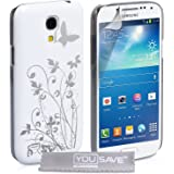 Yousave Accessories Floral Butterfly Hard Cover Case for Samsung Galaxy S4 Mini - White