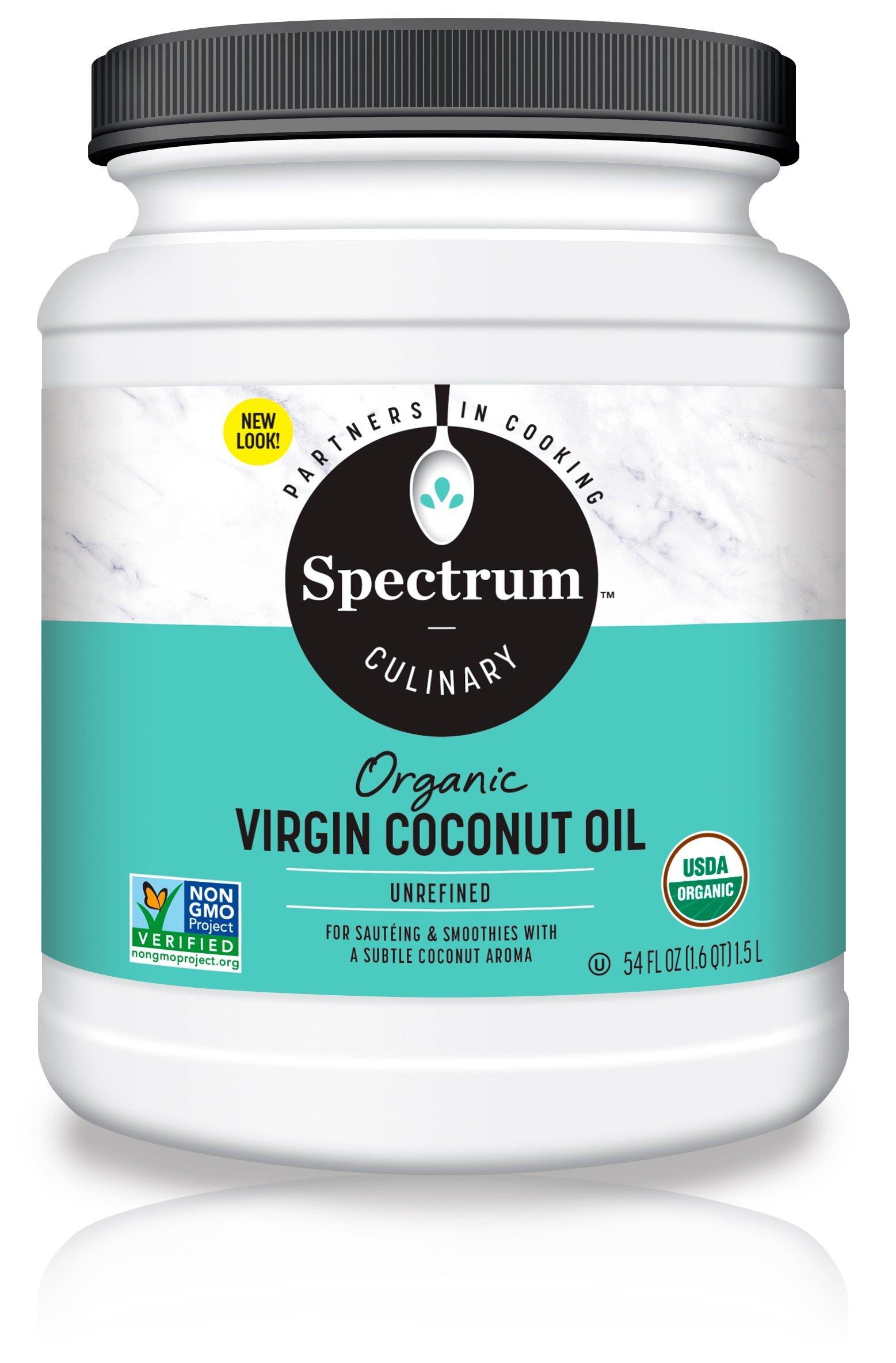 Spectrum Organic Coconut Oil for Cooking, Virgin, Unrefined, 54 fl. oz. by Spectrum (Image #1)