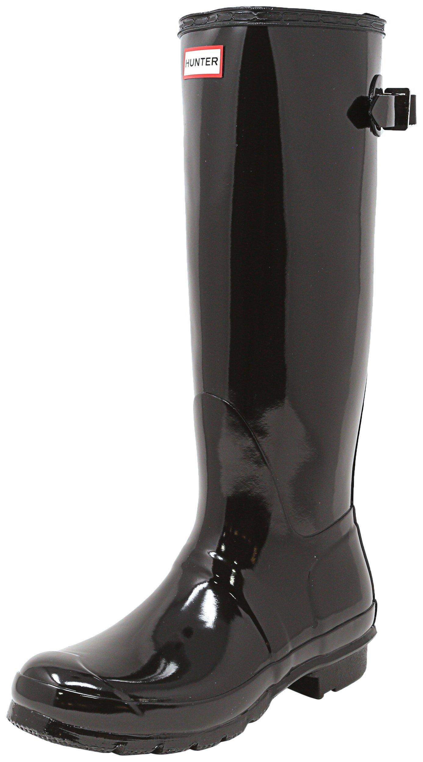 Hunter Womens Original Back Adjustable Gloss Black Rain Boot - 9