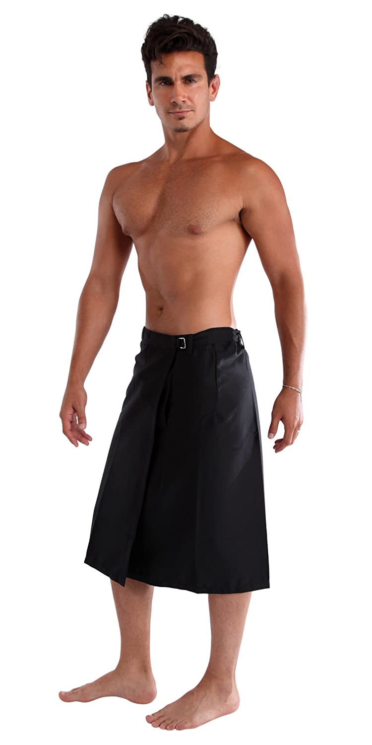 1 World Sarongs Mens Sulu in Black