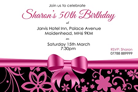 50th birthday party invitations envelopes pink bow click 50th birthday party invitations envelopes pink bow click customize now for prices filmwisefo
