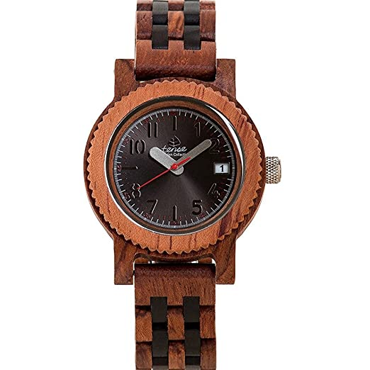 Amazon.com: Tense M5200RD Mini Yukon Mens Wood Case and Bracelet Black Dial African Rosewood Watch: Watches