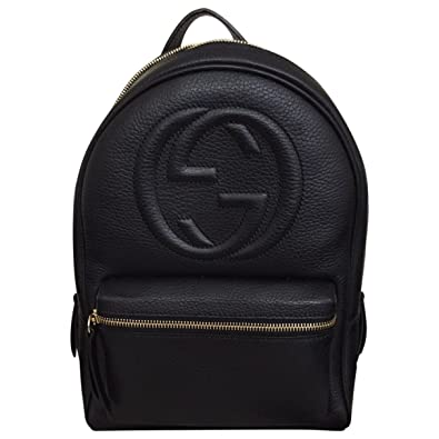 Amazon.com  Gucci Soho Black Backpack Calf Leather Backpack Ladies Bag  Italy New   Shoes 3c2b4a3dcf40f