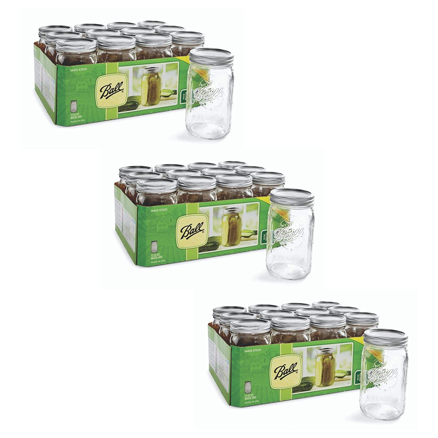 Set of 12 Jars. Ball Mason 32 oz Wide Mouth Jars with Lids and Bands