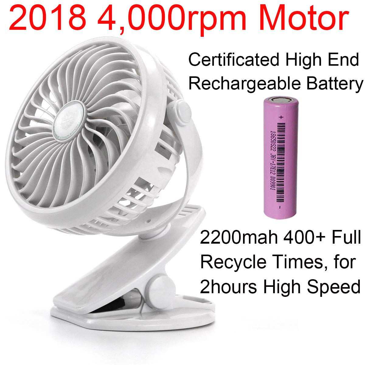 2018 Portable USB Chargeable Fan with Battery inside Wired and Wirless Running for Person, Kitchen, Office, Person, Travel, Outdoor