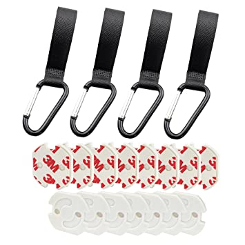 Tomkity 4 Piezas Ganchos Multiusos para Carrito de Bebé Silla de Paseo Cochecito Ganchos Universales con 15 Piezas Tapones de Seguridad para Enchufes