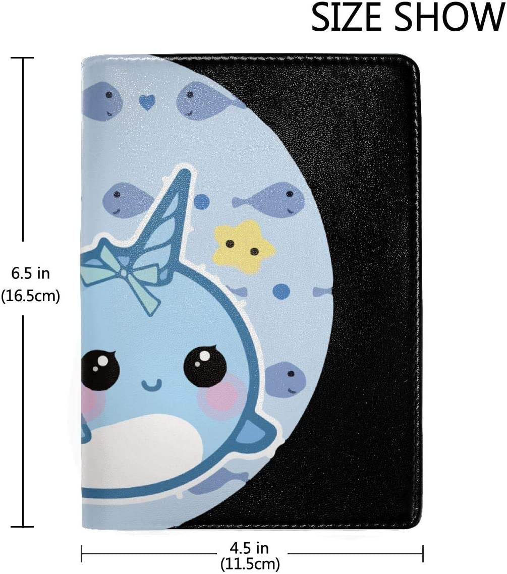 Cartoon Rainbow Narwhal Fashion Leather Passport Holder Cover Case Travel Wallet 6.5 In