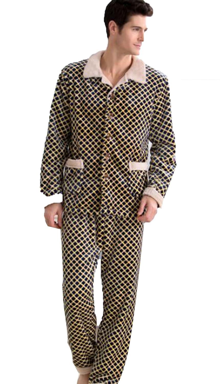 Winter Men Soft Flannel Homewear Pajamas Long Sleeve Grid Pajamas