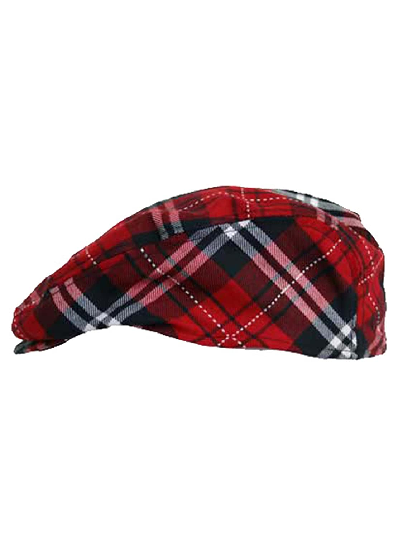 275a24f421eca Red Plaid Snap Front Newsboy Golf Flat Ivy Cap Hat at Amazon Men s Clothing  store  Newsboy Caps