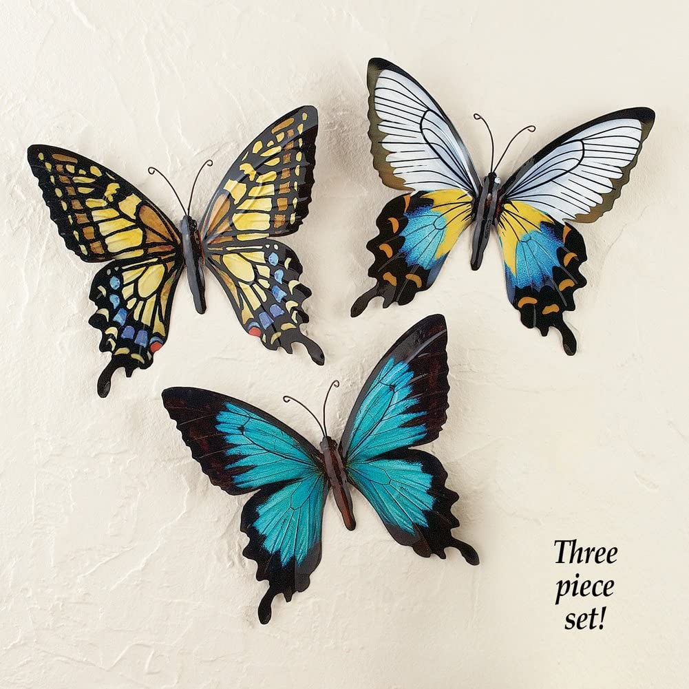 Amazon Com Metal Butterfly Wall Art Decoration Set Of 3 Fauna Insect Garden Theme Decor Home Kitchen