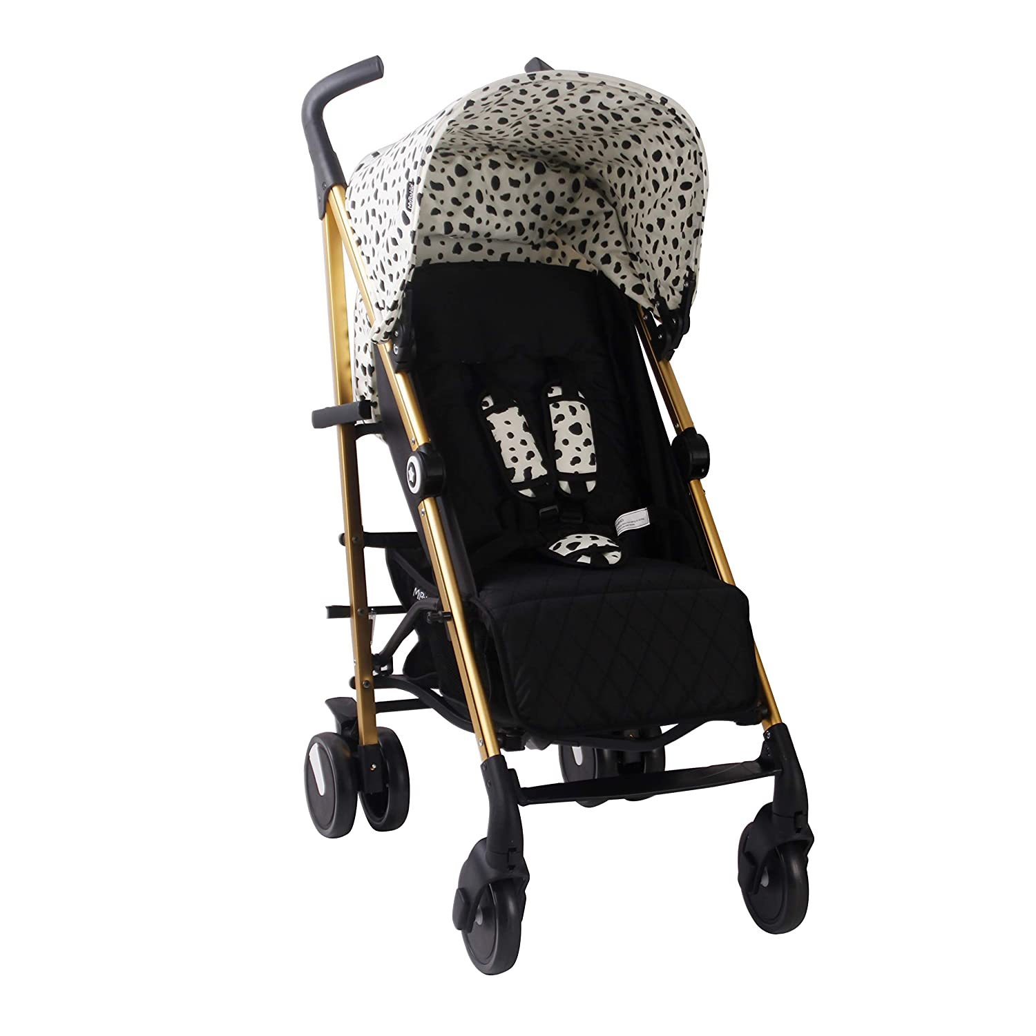 My Babiie Catwalk Dalmatian Baby Stroller – Lightweight Baby Stroller with Carry Handle – Gold Frame and Dalmatian Canopy – Lightweight Travel Stroller – Suitable from Birth – 33 lbs