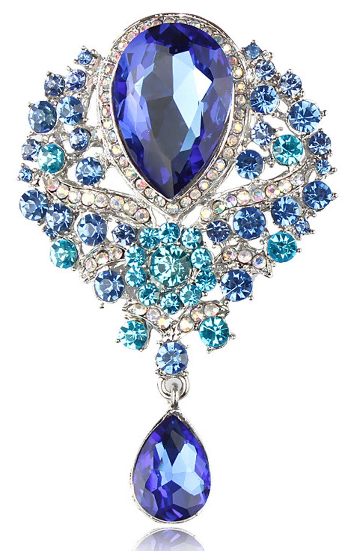 Gyn&Joy Women's Vintage Style Austrian Crystal Flower Teardrop Lake Blue Gorgeous Brooch Pin BZ061