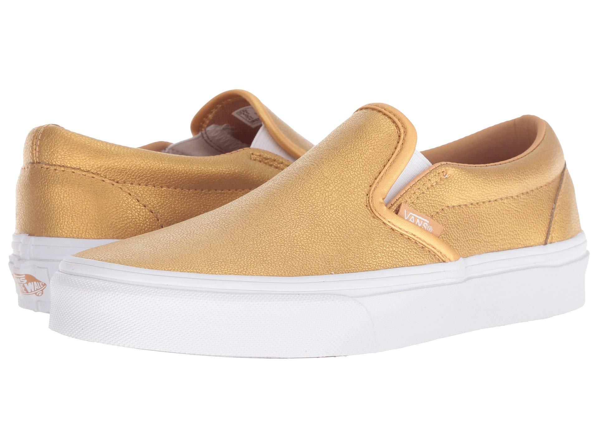 e686f0a5fc Galleon - Vans Classic Slip-ON Adult s Sneaker Womens Skateboarding-Shoes  VN-A38F7RSQ 8.5M - Metallic Bronze True White