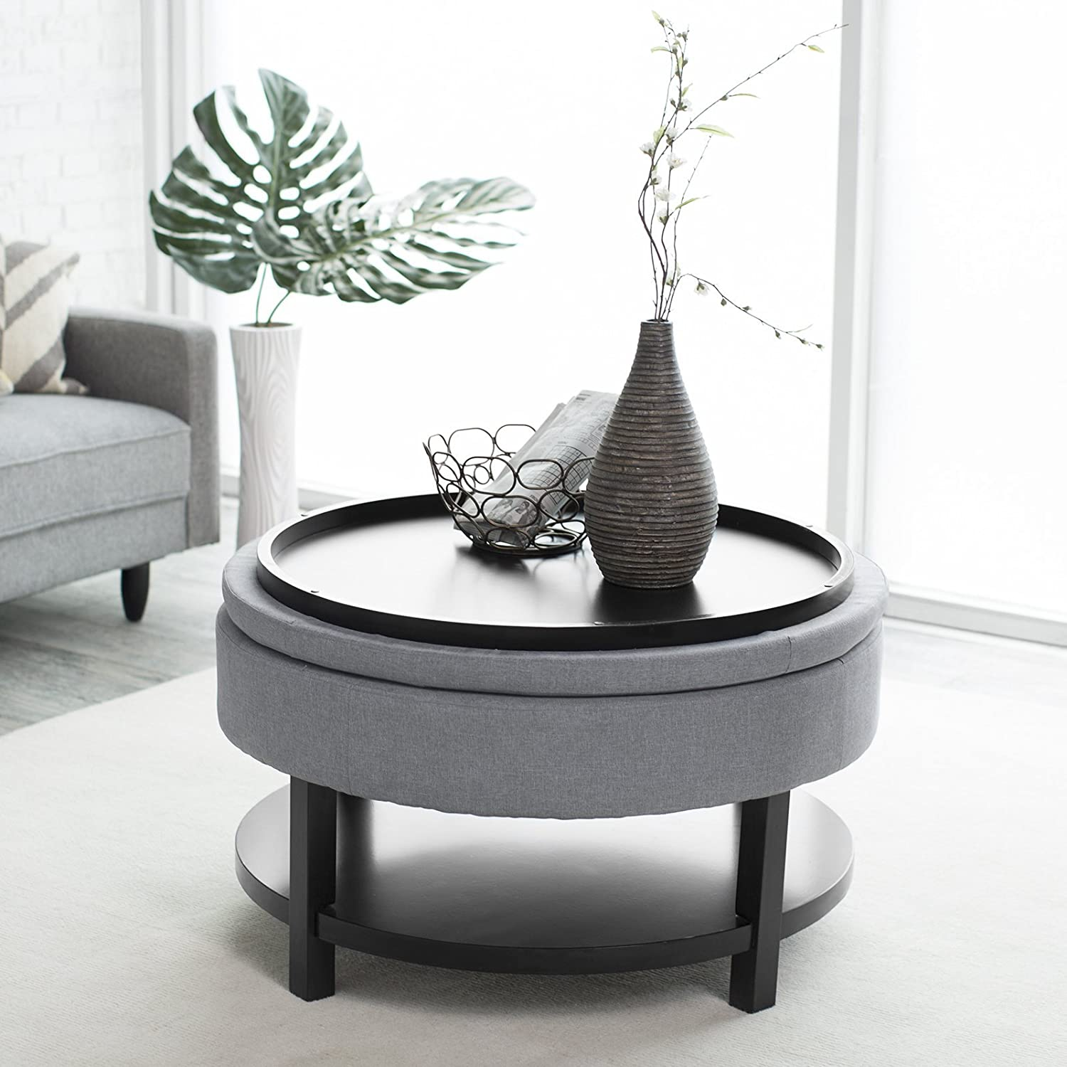 Amazon.com: Belham Living Coffee Table Storage Ottoman With Shelf  :  Kitchen U0026 Dining