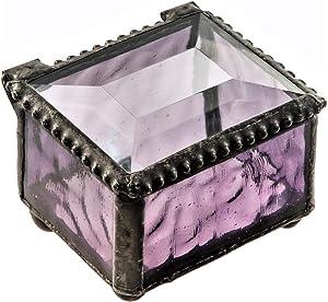 Ring Box Small Glass Jewelry Wedding Engagement Ring Dish Display Keepsake Trinket Case Gift Purple Stained Glass J Devlin Box 325-2
