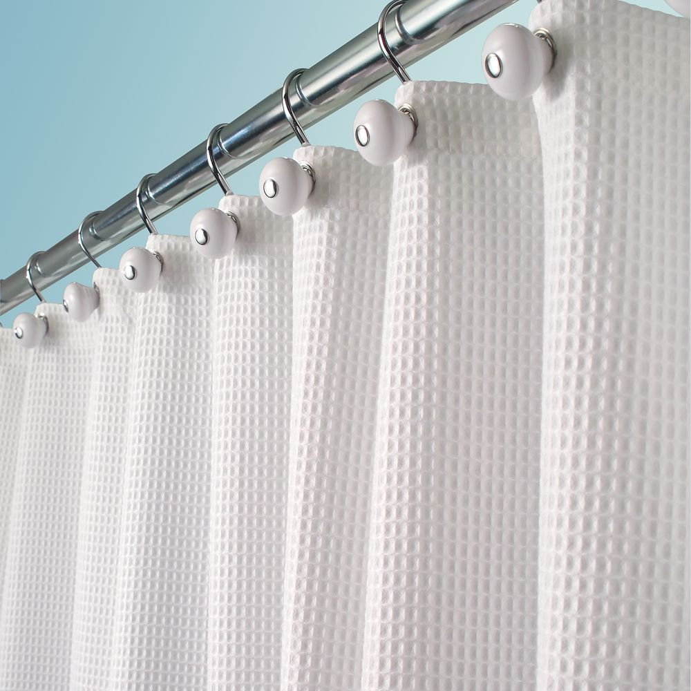 mDesign Hotel Quality Polyester/Cotton Blend Fabric Shower Curtain, Rustproof Metal Grommets - Waffle Weave for Bathroom Showers and Bathtubs - 72'' x 72'', White