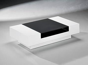 Moderner Weisser Couchtisch Fahrbar Mit Schwarzer Glaseinlage Modell 6329