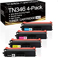 4 Pack Compatible TN346 TN-346 Toner Cartridge for Brother HLL8250CDN HLL8350CDW MFCL8600CDW MFCL8850CDW(1BK,1C.1M,1Y)