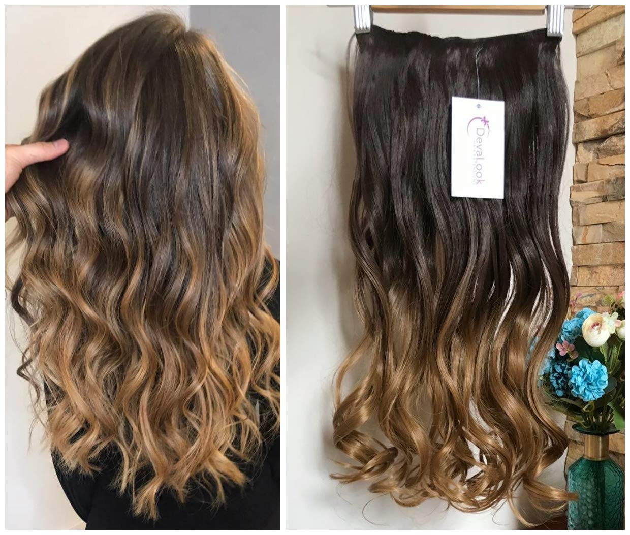 DevaLook 20'' Thick One Piece Straight Wavy Curly Half Head Ombre Clip in Hair Extensions (20''- Dark brown to dark blonde) ... by DevaLook Hair Extensions