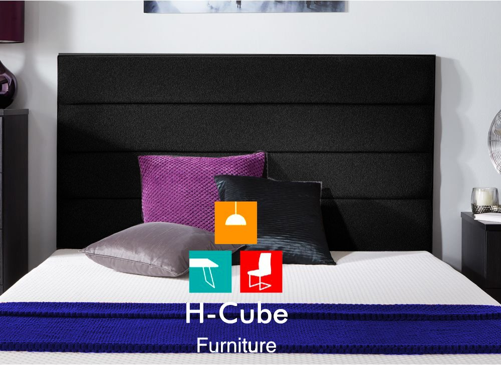 H-Cube Furniture Rome Horizontal Panels Upholstered Padded Divan Bed Base Headboard Turin Fabric With Struts & Fixings (Black - 3FT Single-20)
