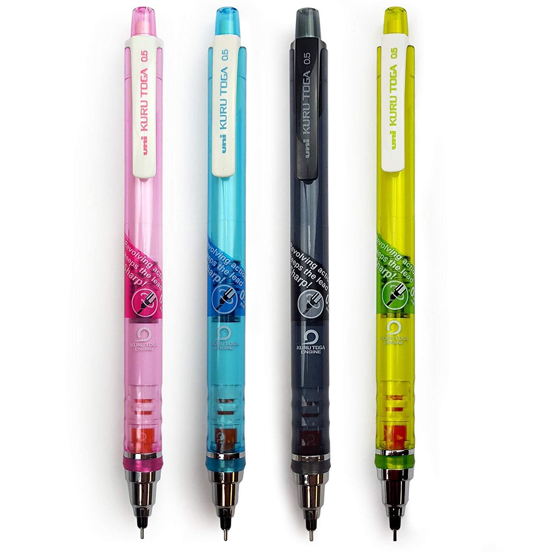 + 10 Erasers Uni Ball Kuru Toga Refill Leads 0.5mm HB 48 Leads 4 Tubes of 12 Leads