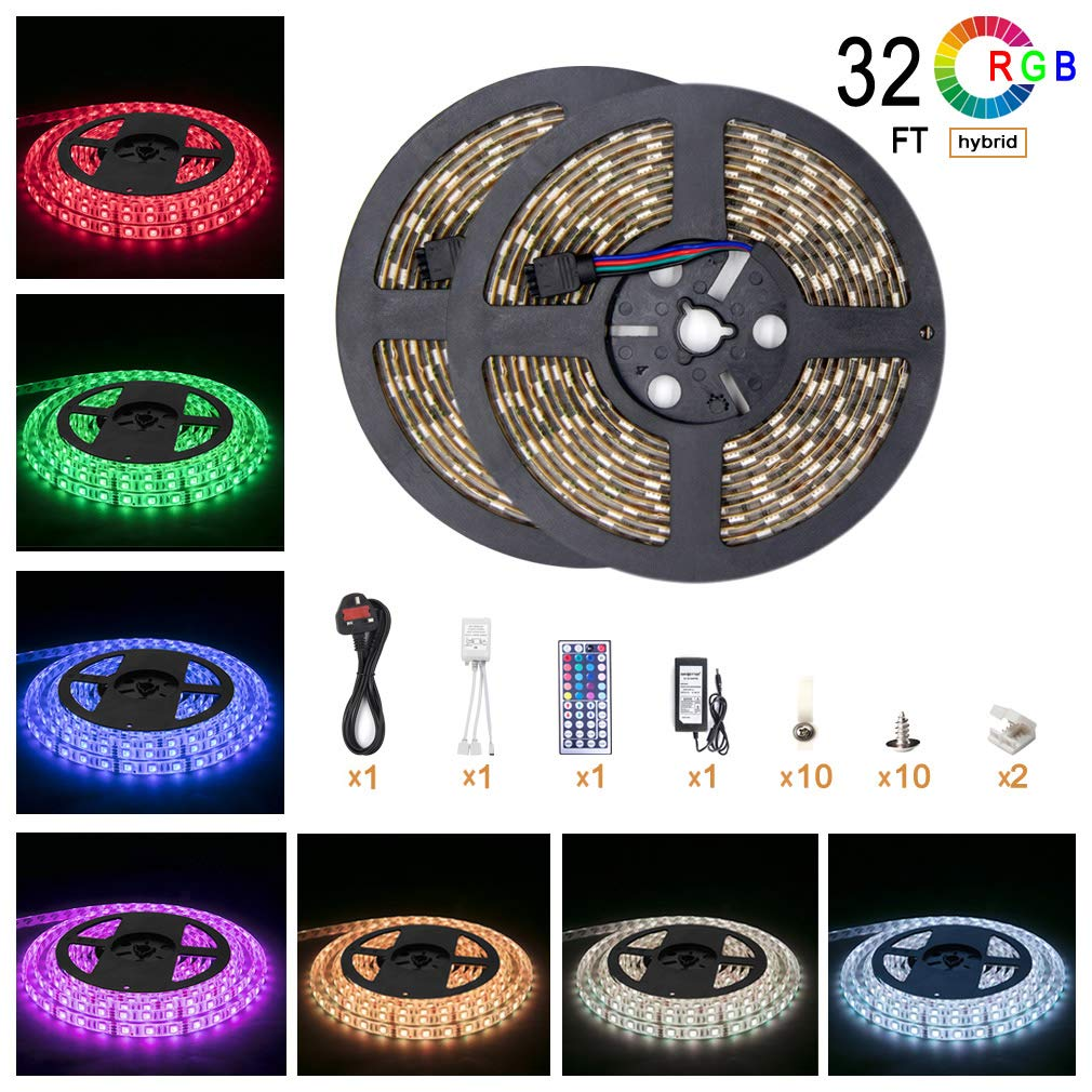 5050 Led Strip Lights 32 8 Ft 10m 600 Leds Rgb Colour Changing 12 Volt Light Wiring Diagram Free Picture Outdoor Waterproof Ip65 Kit With 12v Power Supply 44key Remote And Receiver For Christmas