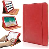 iPad 9.7 2017/2018 case - Leather Multiple Card Pocket Stand Case with Auto Sleep/Wake Up Viewing Angles Stand Folio Design for Apple iPad 9.7 inch 2017/2018 Air/Air 2 - Red