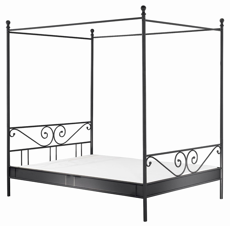 Vaja Himmelbett Metallbett schwarz 140x200