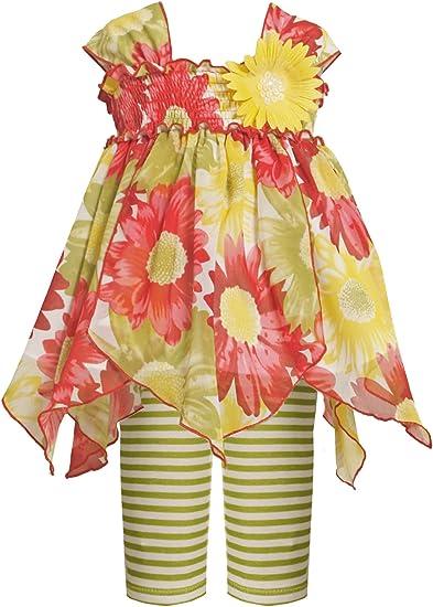 Bonnie Jean Little Girls Stripe To Floral Print Legging Set