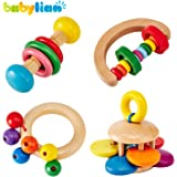 [US CPSC Certificated] Babylian Educational Grasping Rattles Combination of Beech Material for Children of More Than 3 Months Old (4 Type)