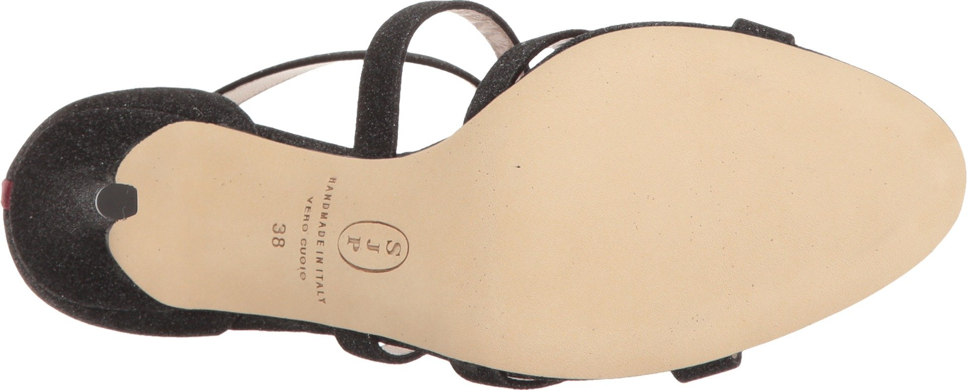 SJP by Sarah Jessica Parker Women's Strut Dress Sandal, Doozy Fine Glitter Black, 38.5 EU/8 B US