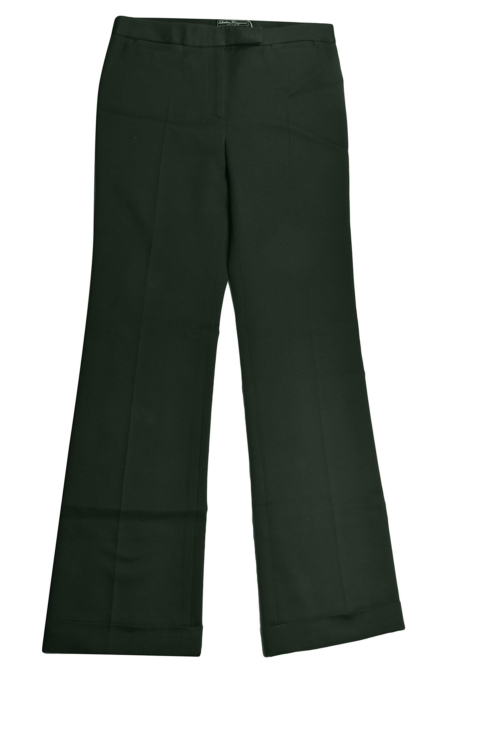 Salvatore Ferragamo Women's Green Flare Leg Pants 42