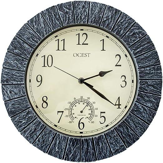 OCEST Reloj de jardín Impermeable para Exteriores, Reloj de Pared Retro Grande de 13 Pulgadas Reloj Decorativo Que Funciona sin Pilas con termómetro para baño Jacuzzi: Amazon.es: Hogar
