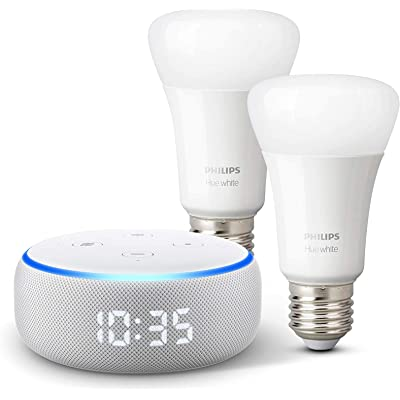 Echo Dot (3.ª generación) - Altavoz inteligente con reloj y Alexa + Philips Hue White Pack de 2 bombillas LED inteligentes, compatible con Bluetooth y Zigbee, no se requiere controlador