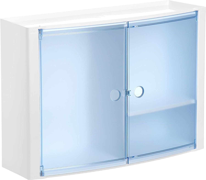 Tatay 4480200 - Armario de baño Horizontal con Dos Puertas en PP, 46 x 15,5 x 32 cm, Apto para Sistema de fijación Glu&Fix armarios, Azul
