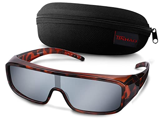 b44e67c9fee TINHAO Polarized Fit Over Sunglasses One Piece Shield with Mirrored Lenses