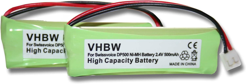vhbw Set 2X baterías Ni-MH 500mAh (2.4V) para teléfono inalámbrico Medion MD83242, MD83282 sustituye VT50AAAALH2BMJZ, GP1010, GPHC05RN01.