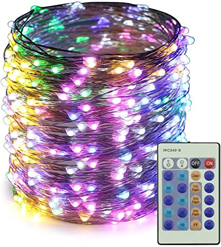 ER CHEN Dimmable LED String Lights,165Ft 500 LEDs Silver Wire Starry String Lights with Remote Control and Adapter for Seasonal Decorative Christmas Holiday, Wedding, Parties Multicolor