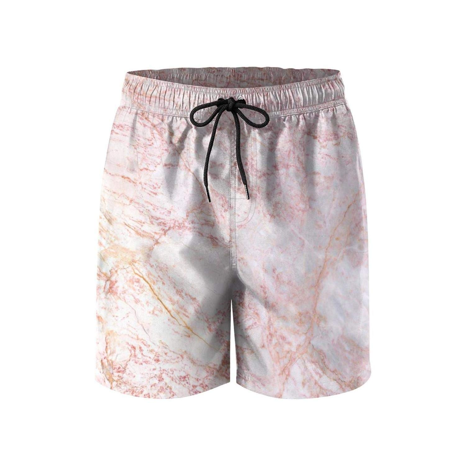 Retro Mens Beach Shorts Rose Gold White Marble Comfortable Volley Shorts for Beach